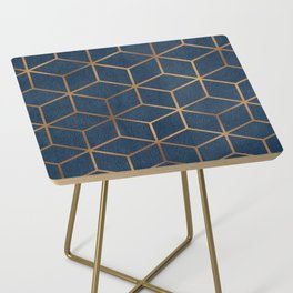 Dark Blue and Gold - Geometric Textured Cube Design Side Table