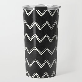 Moroccan Horizontal Stripe in Black and White Travel Mug