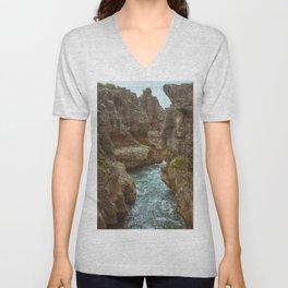 Pancake Rock Cliffs Unisex V-Neck