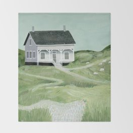 Cottage on the beach Throw Blanket