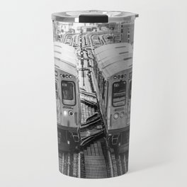 Black and White Chicago Train El Train above Wabash Ave the Loop Windy City Travel Mug