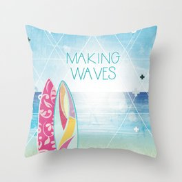 Making Waves - Sunset Throw Pillow