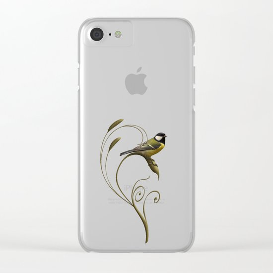Great tit on swirled branch Clear iPhone Case