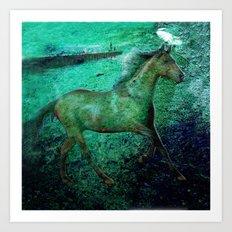 Green sea horse Art Print