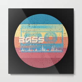 Retro Bass Cassette Tape Metal Print