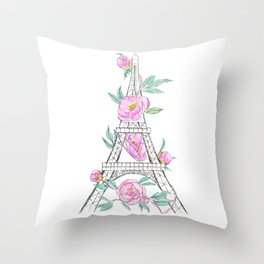 Eiffel tower and peonies Throw Pillow