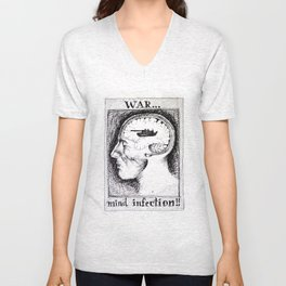 War is a Mind Infection Unisex V-Neck