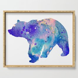 Bear Art Colorful Blue Purple Watercolor Art Gift Animals Lovers Gift Nature Gift Forests Art Serving Tray