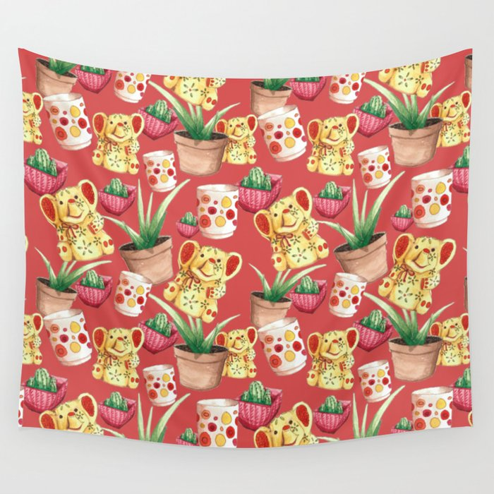 All Cute Stuff At Home Cheerful Pattern Wall Tapestry By Darinadrawing Society6