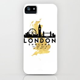 LONDON ENGLAND SILHOUETTE SKYLINE MAP ART iPhone Case
