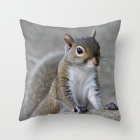 squirrel Throw Pillows featuring Squirrel by Charlene McCoy