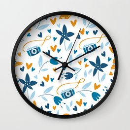 floral & photo Wall Clock