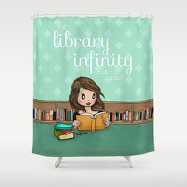 The Library is Infinity Under a Roof Shower Curtain