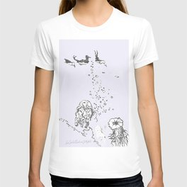 Two Tailed Duck and Jellyfish Lavender T-shirt