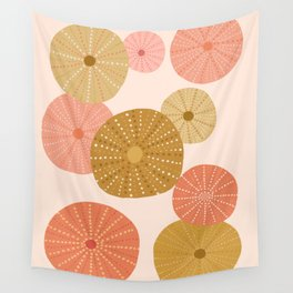 Sea Urchins in Coral + Gold Wall Tapestry