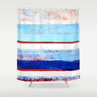 stripes Shower Curtains featuring Stripes by T30 Gallery