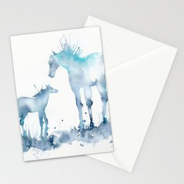 Watercolor Horse and Foal Mom and baby Stationery Cards