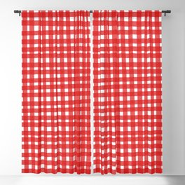 Red Gingham Blackout Curtain