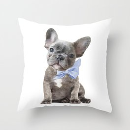 French bulldog, Frenchie, Blue Grey by Amanda Greenwood Throw Pillow