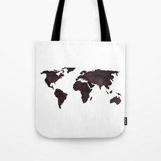 World Map Deep Brown Ink Watercolor Tote Bag