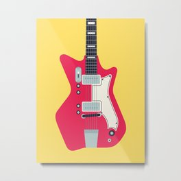 Retro 60s Surf Rock Electric Guitar - Canary Metal Print