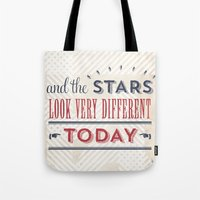 david bowie Tote Bags featuring David Bowie by Sarah Van Neyghem