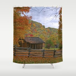 Log Cabin in Autumn Shower Curtain