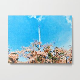 Watercolor of cherry blossom with Fighter show Metal Print