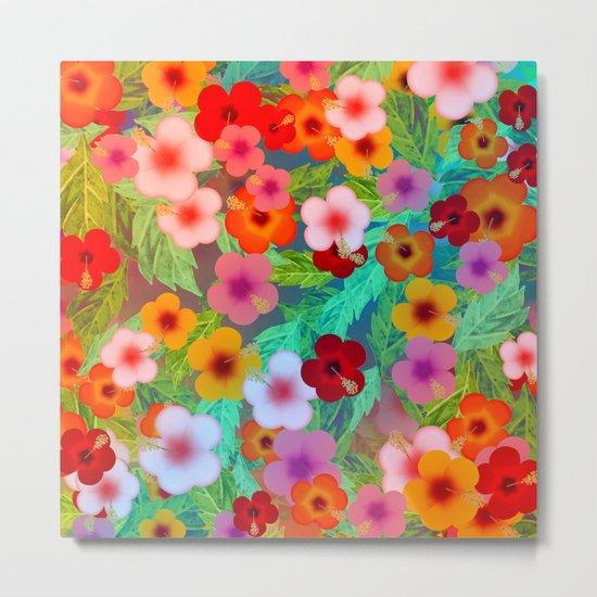 Colorful Hibiscus Metal Print