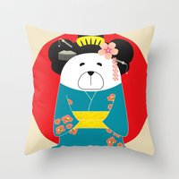 geisha Throw Pillows featuring Geisha by EinarOux