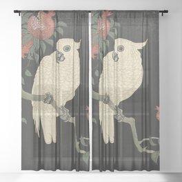 Cockatoo and Pomegranate 柘榴に鸚鵡 Sheer Curtain