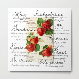Strawberries and Fruit of the Spirit Explained  Metal Print