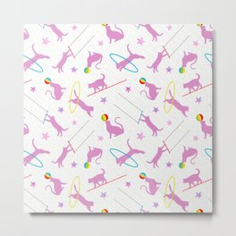 Acrobatic Cats in Pink & White Metal Print