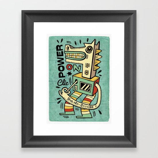 Power on - blue Framed Art Print
