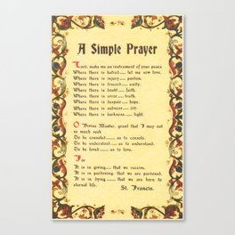 Inspirational Typography Wall Art, Simple Peace Prayer, St. Francis of Assisi, Florentine Design Canvas Print