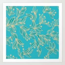 Turquoise Floral Pattern Art Print