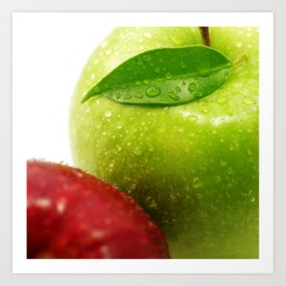 Fresh red and Green Appel in contrasts Art Print