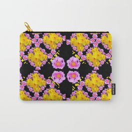 Black Roce & Yellow Color Pattern Floral Carry-All Pouch
