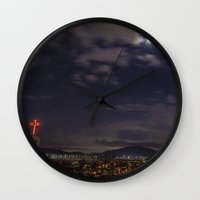 seoul Wall Clocks featuring Seoul Moonlight by Clayton Jones