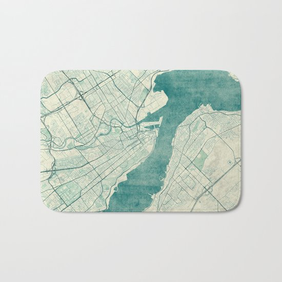 Quebec City Map Blue Vintage Bath Mat
