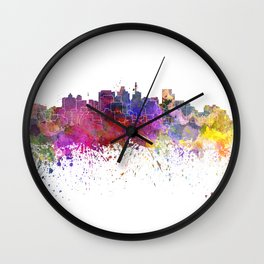Durban skyline in watercolor background Wall Clock