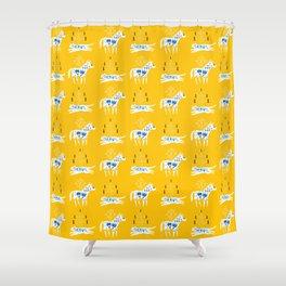 Folk cat on yellow Shower Curtain