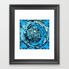 Aqua Swirl Topography Framed Art Print