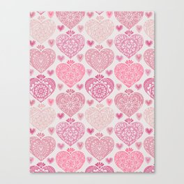 Pink Heart Valentine's Doilies Pattern Canvas Print