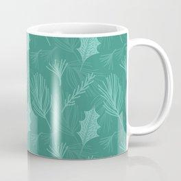 Green Pine Tree Leaf Pattern Coffee Mug