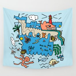 Sea Doodle World Animals Wall Tapestry