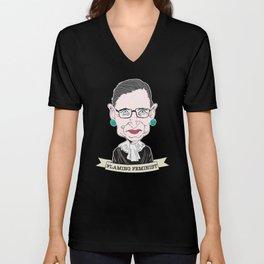 Ruth Bader Ginsburg The Notorious RBG Flaming Feminist Unisex V-Neck