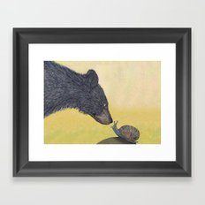 Bear meets snail Framed Art Print