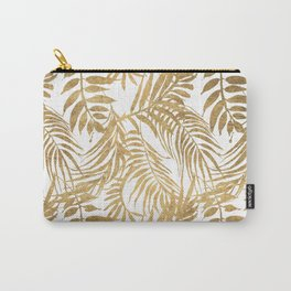 Elegant tropical gold white palm tree leaves floral Carry-All Pouch