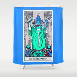5. The Hierophant- Neon Dreams Tarot Shower Curtain